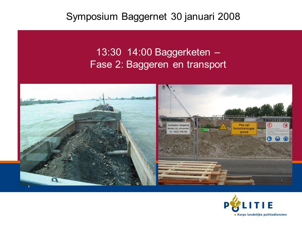 1 13:30 14:00 Baggerketen – Fase 2: Baggeren en transport Symposium Baggernet 30 januari 2008