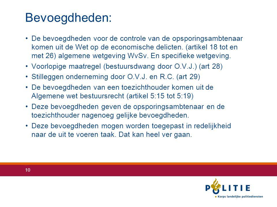 10 Bevoegdheden: De bevoegdheden voor de controle van de opsporingsambtenaar komen uit de Wet op de economische delicten. (artikel 18 tot en met 26) a