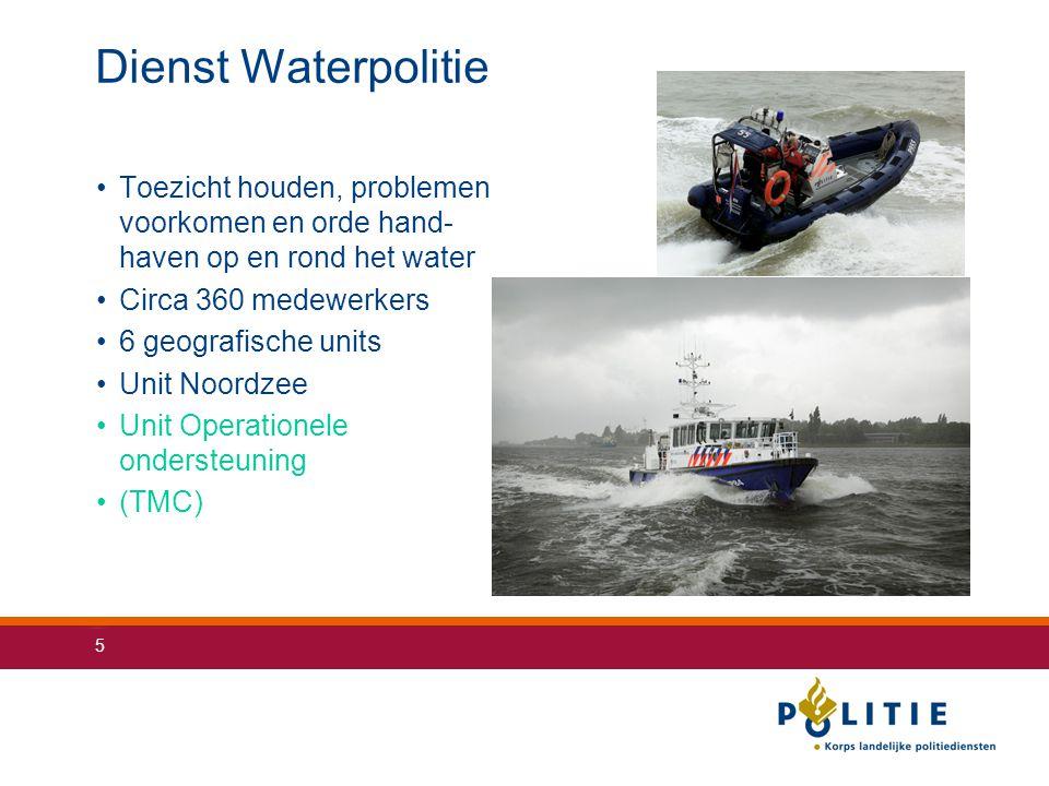 5 Dienst Waterpolitie Toezicht houden, problemen voorkomen en orde hand- haven op en rond het water Circa 360 medewerkers 6 geografische units Unit No