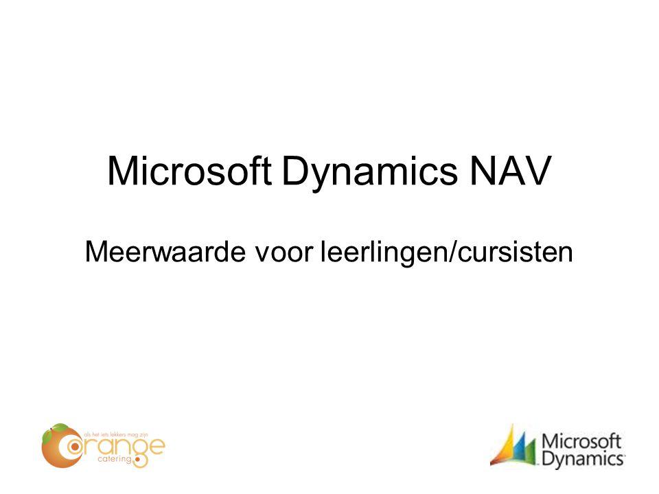 Microsoft Dynamics NAV Meerwaarde voor leerlingen/cursisten