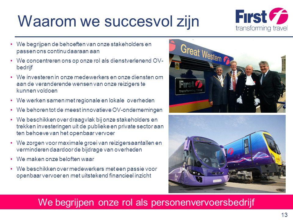 14 Innovatie en investering We investeren veel in onze onderneming Toonaangevend als het gaat om innovatie door samen te werken met busfabrikanten aan ontwikkelingen zoals de FTR bus en geleide bussen In samenwerking met Europese regeringen, voertuig- fabrikanten, BP en The Energy Savings Trust, neemt First deel aan het Clean Urban Transport Europe-project met emissievrije waterstofbussen in Londen Jaarlijks wordt ongeveer €140 miljoen uitgegeven aan nieuwe bussen Investeringen in de afgelopen 6 jaar van bijna €1,4 miljard voor 4.000 nieuwe bussen, 400 nieuwe treinen en een reeks infrastructuur-projecten Verwachte investeringen in de komende 10 jaar van ca.