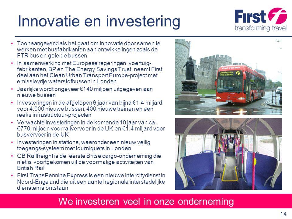 15 Reizigersgroei We investeren in reizigersgroei Uitstekende samenwerking met de lokale overheden, zoals bijvoorbeeld:  De eerste Statutory Quality Partnership in de UK in Glasgow waar we €42 miljoen hebben geïnvesteerd in 220 nieuwe bussen, businformatie-, signalerings- en trackingsystemen, verkeersmanagementmaatregelen, evenals beveiligings- apparatuur zoals ingebouwde CCTV-camera's  Geleide bussen in Leeds waar we ongeveer €5.6 miljoen hebben bijgedragen aan de kosten voor de infrastructuur  Service-innovaties en investeringen in voorrangsstroken voor bussen evenals het onderhouden en exploiteren van het P+R-systeem in York Omvangrijk marktonderzoek om de ontwikkeling van het netwerk aan te passen aan de vraag, omvattend:  Overleg met reizigers in de vorm van focusgroepen en enquêtes  Onderzoek naar historische reispatronen om het gedrag van onze reizigers beter te kunnen begrijpen  Volledige herstructurering van ons busnetwerk in overleg met de lokale overheid gebaseerd op de resultaten van het marktonderzoek Creatieve marketing om het aantal bus- en treinreizigers te vergroten Grote investeringen in yield-managementsystemen om de bezettingsgraad van onze diensten te verbeteren
