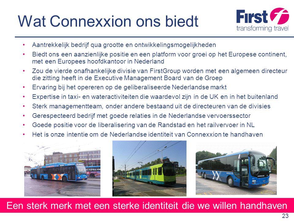 24 Onze voornemen is om een serieuze speler op het Europese continent te zijn met Nederland als onze basis Een sterke positie verwerven in Nederland staat bovenaan onze prioriteitenlijst We zullen reizigersgroei stimuleren door toegankelijkheid, kwaliteit, innovatie en veiligheid te verbeteren We beschikken over kennis en ervaring die een uitstekende aanvulling vormen op die van Connexxion We betreden de markt vanuit een sterke positie Onze belangstelling voor Connexxion is serieus en voor de lange termijn FirstGroup is de perfecte partner voor Connexxion Samengevat