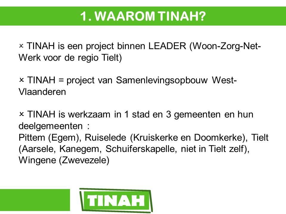  TINAH is een project binnen LEADER (Woon-Zorg-Net- Werk voor de regio Tielt)  TINAH = project van Samenlevingsopbouw West- Vlaanderen  TINAH is werkzaam in 1 stad en 3 gemeenten en hun deelgemeenten : Pittem (Egem), Ruiselede (Kruiskerke en Doomkerke), Tielt (Aarsele, Kanegem, Schuiferskapelle, niet in Tielt zelf), Wingene (Zwevezele) 1.