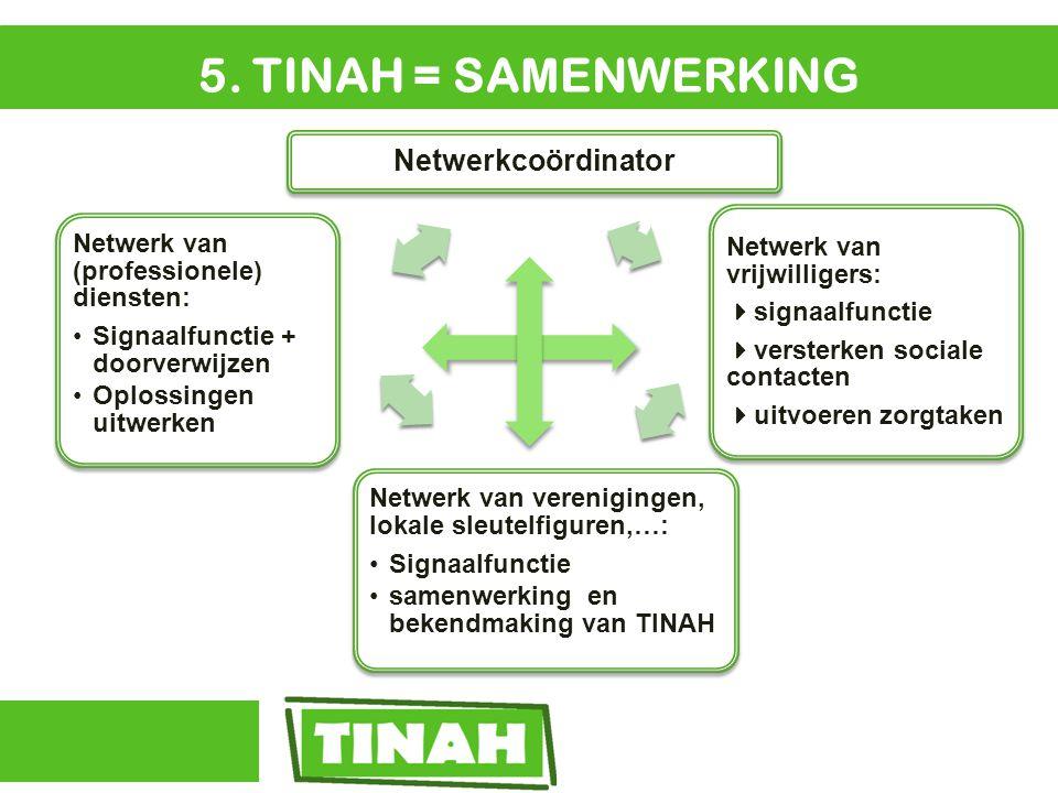 5. TINAH = SAMENWERKING Netwerkcoördinator Netwerk van vrijwilligers:  signaalfunctie  versterken sociale contacten  uitvoeren zorgtaken Netwerk va