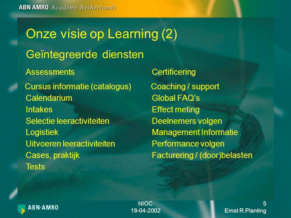 NIOC 19-04-2002 6 Ernst R.Planting Corporate Leerportaal ICT opleidingen Bundeling van cursus aanbod (Content) Competentie gericht Beschikbaar via Internet (digitale marktplaats) Gericht op toekomst = Academy IT Web