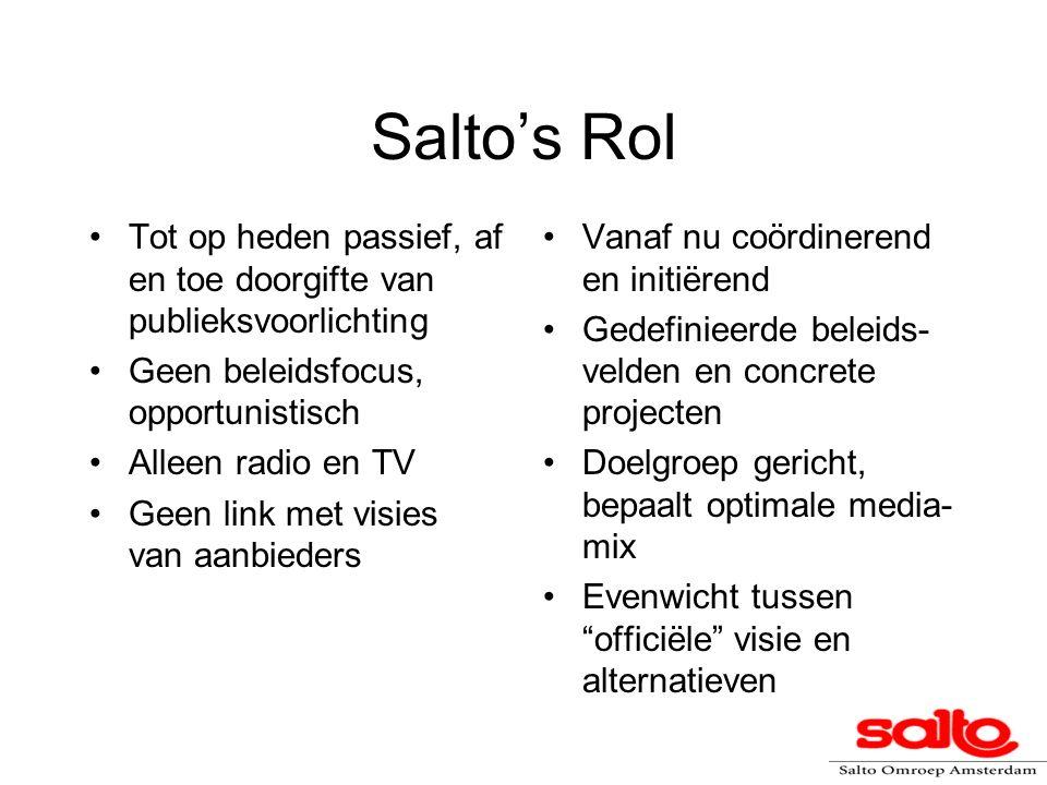 Salto's Rol Tot op heden passief, af en toe doorgifte van publieksvoorlichting Geen beleidsfocus, opportunistisch Alleen radio en TV Geen link met vis