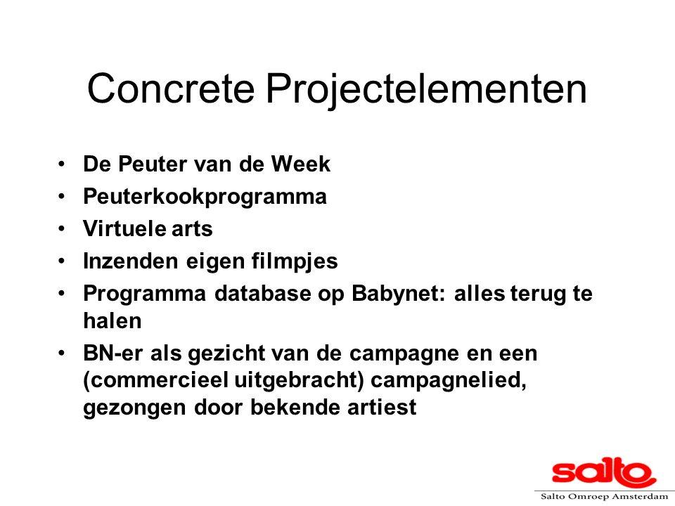 Concrete Projectelementen De Peuter van de Week Peuterkookprogramma Virtuele arts Inzenden eigen filmpjes Programma database op Babynet: alles terug te halen BN-er als gezicht van de campagne en een (commercieel uitgebracht) campagnelied, gezongen door bekende artiest