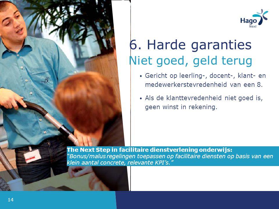 14 6.Harde garanties Gericht op leerling-, docent-, klant- en medewerkerstevredenheid van een 8.