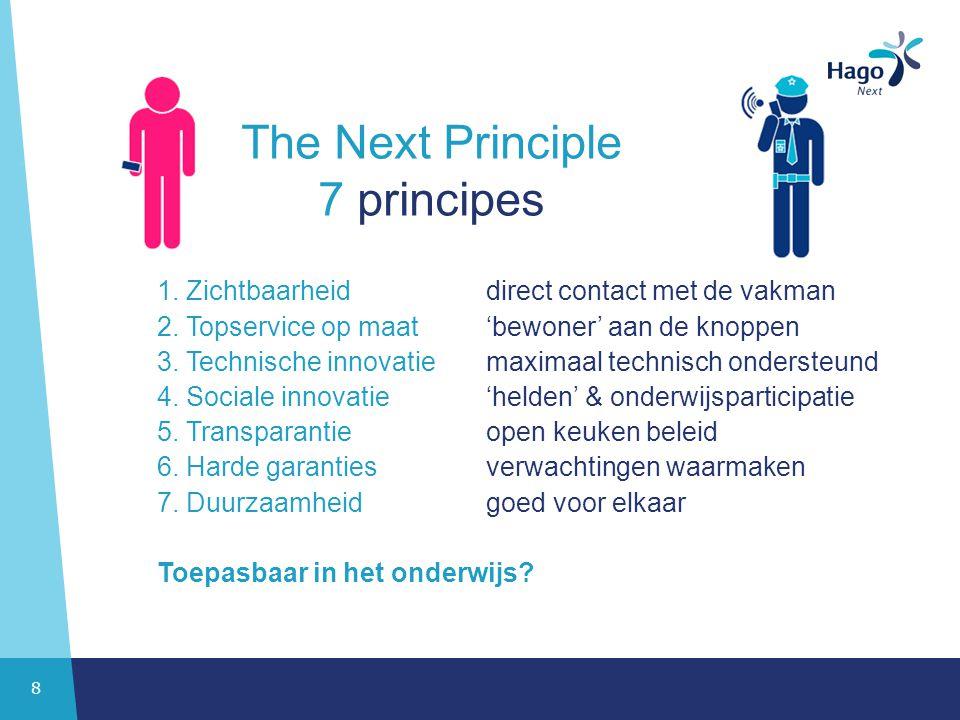 8 The Next Principle 7 principes 1.Zichtbaarheid direct contact met de vakman 2.