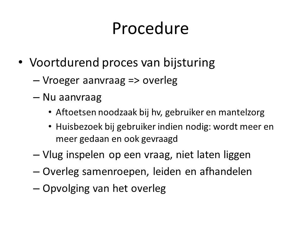 Procedure Voortdurend proces van bijsturing – Vroeger aanvraag => overleg – Nu aanvraag Aftoetsen noodzaak bij hv, gebruiker en mantelzorg Huisbezoek