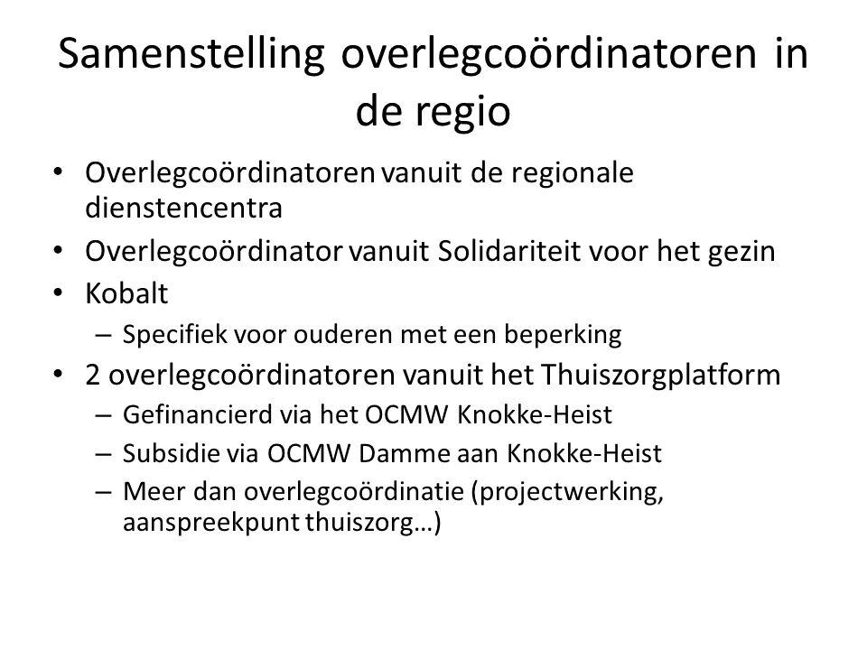 Samenstelling overlegcoördinatoren in de regio Overlegcoördinatoren vanuit de regionale dienstencentra Overlegcoördinator vanuit Solidariteit voor het