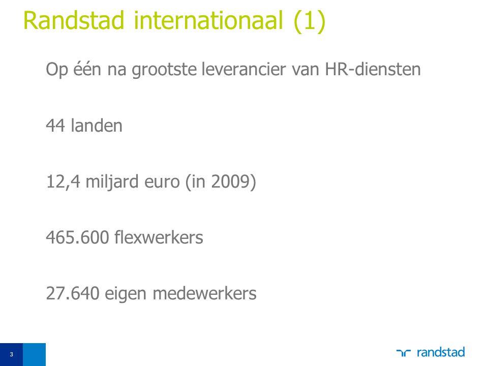 3 Randstad internationaal (1) Op één na grootste leverancier van HR-diensten 44 landen 12,4 miljard euro (in 2009) 465.600 flexwerkers 27.640 eigen me