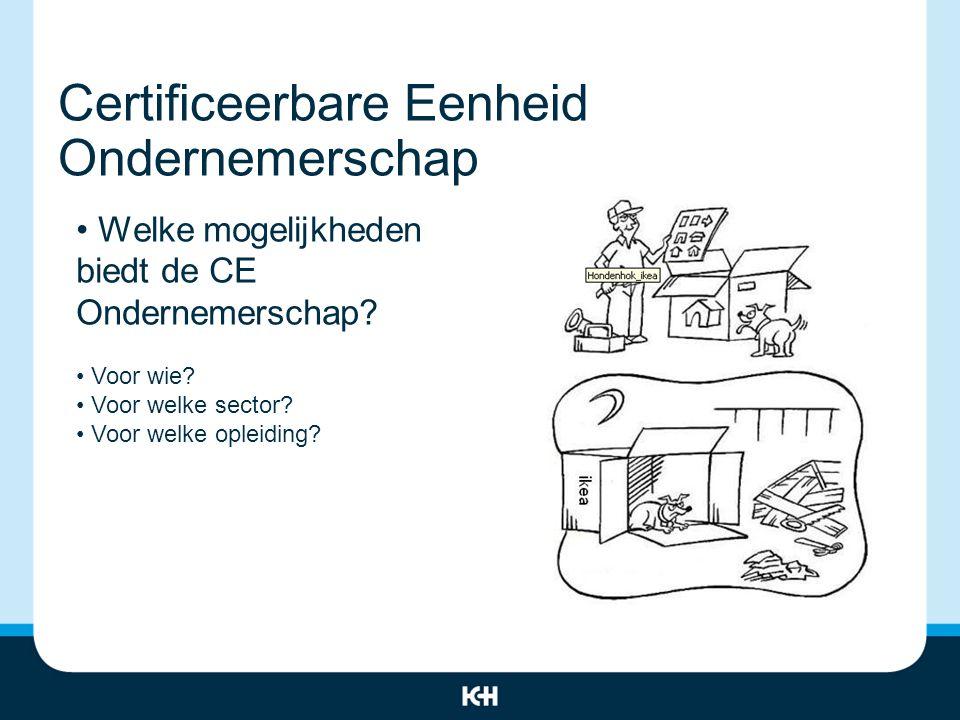 Certificeerbare Eenheid Ondernemerschap Welke mogelijkheden biedt de CE Ondernemerschap.