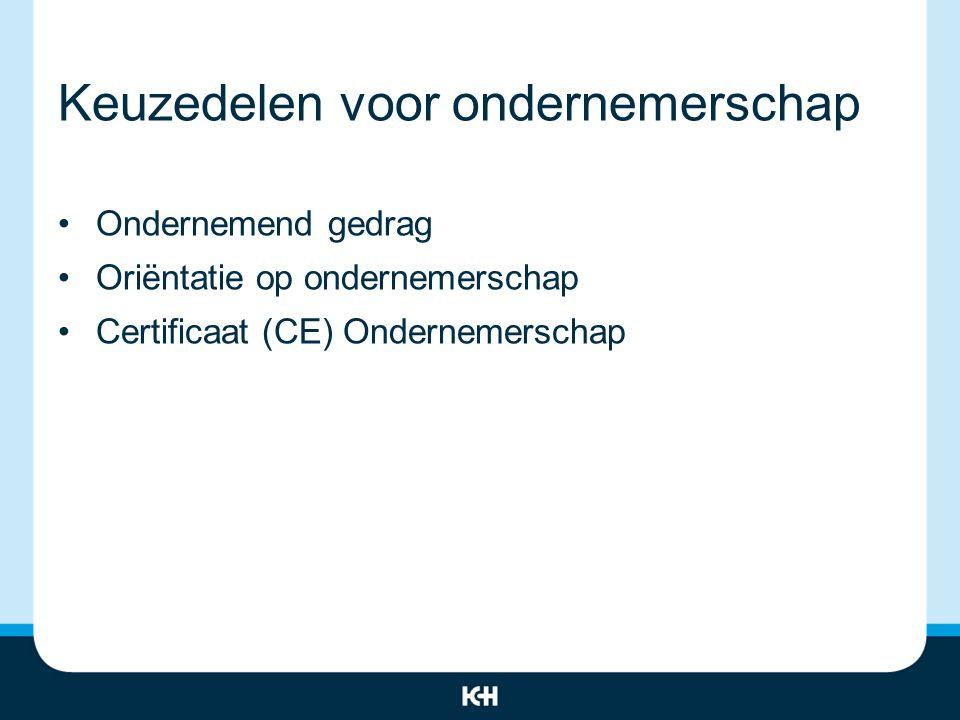 Keuzedelen voor ondernemerschap Ondernemend gedrag Oriëntatie op ondernemerschap Certificaat (CE) Ondernemerschap