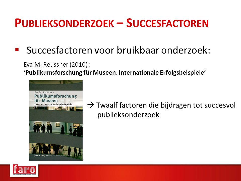 P UBLIEKSONDERZOEK – S UCCESFACTOREN  Succesfactoren voor bruikbaar onderzoek: Eva M.