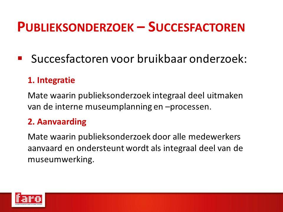 P UBLIEKSONDERZOEK – S UCCESFACTOREN  Succesfactoren voor bruikbaar onderzoek: 1.