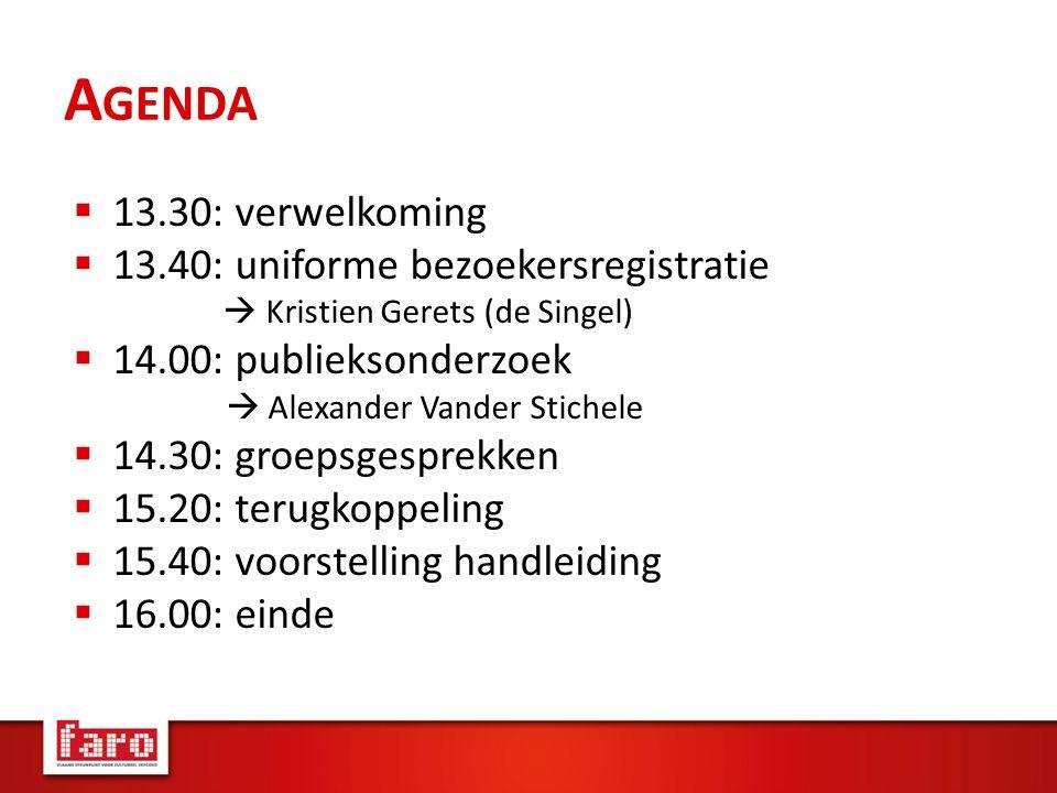 A GENDA  13.30: verwelkoming  13.40: uniforme bezoekersregistratie  Kristien Gerets (de Singel)  14.00: publieksonderzoek  Alexander Vander Stichele  14.30: groepsgesprekken  15.20: terugkoppeling  15.40: voorstelling handleiding  16.00: einde