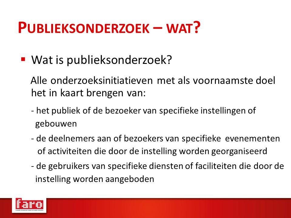 P UBLIEKSONDERZOEK – WAT .  Wat is publieksonderzoek.