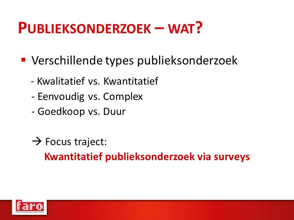 P UBLIEKSONDERZOEK – WAT .  Verschillende types publieksonderzoek - Kwalitatief vs.