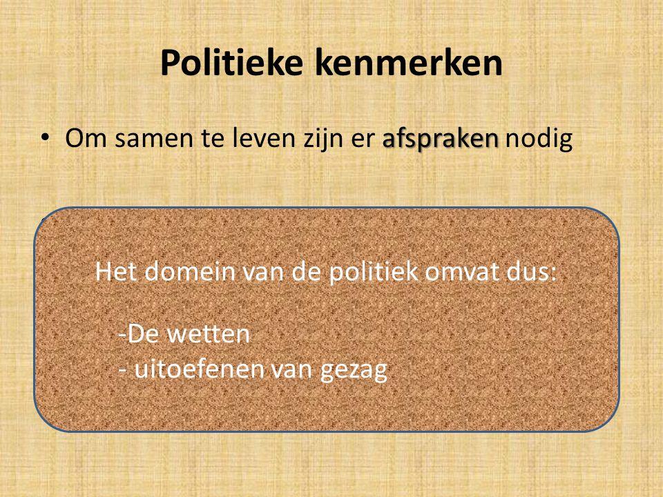 Politieke kenmerken afspraken Om samen te leven zijn er afspraken nodig Leiders om afspraken na te leven Kunnen macht gebruiken (gezag) Kunnen macht m