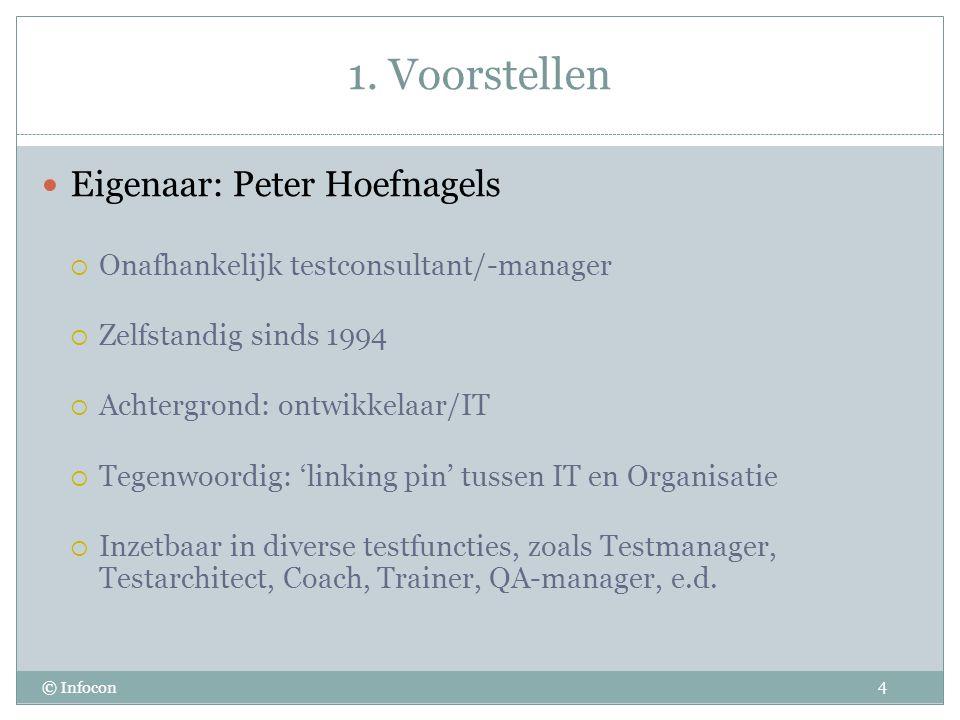 1. Voorstellen © Infocon Eigenaar: Peter Hoefnagels  Onafhankelijk testconsultant/-manager  Zelfstandig sinds 1994  Achtergrond: ontwikkelaar/IT 