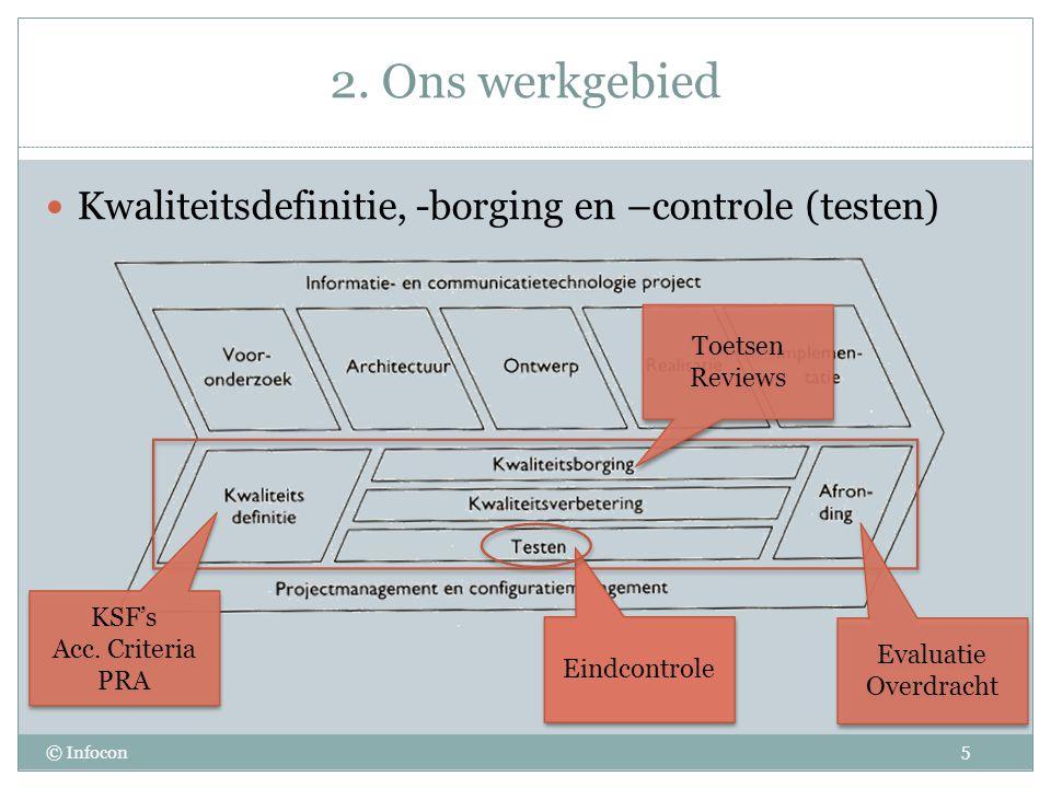 2. Ons werkgebied © Infocon Kwaliteitsdefinitie, -borging en –controle (testen) 5 KSF's Acc.