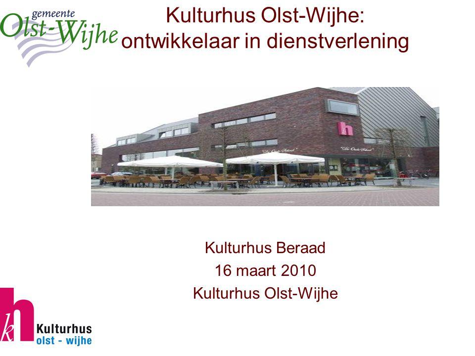 Kulturhus Olst-Wijhe: ontwikkelaar in dienstverlening Kulturhus Beraad 16 maart 2010 Kulturhus Olst-Wijhe
