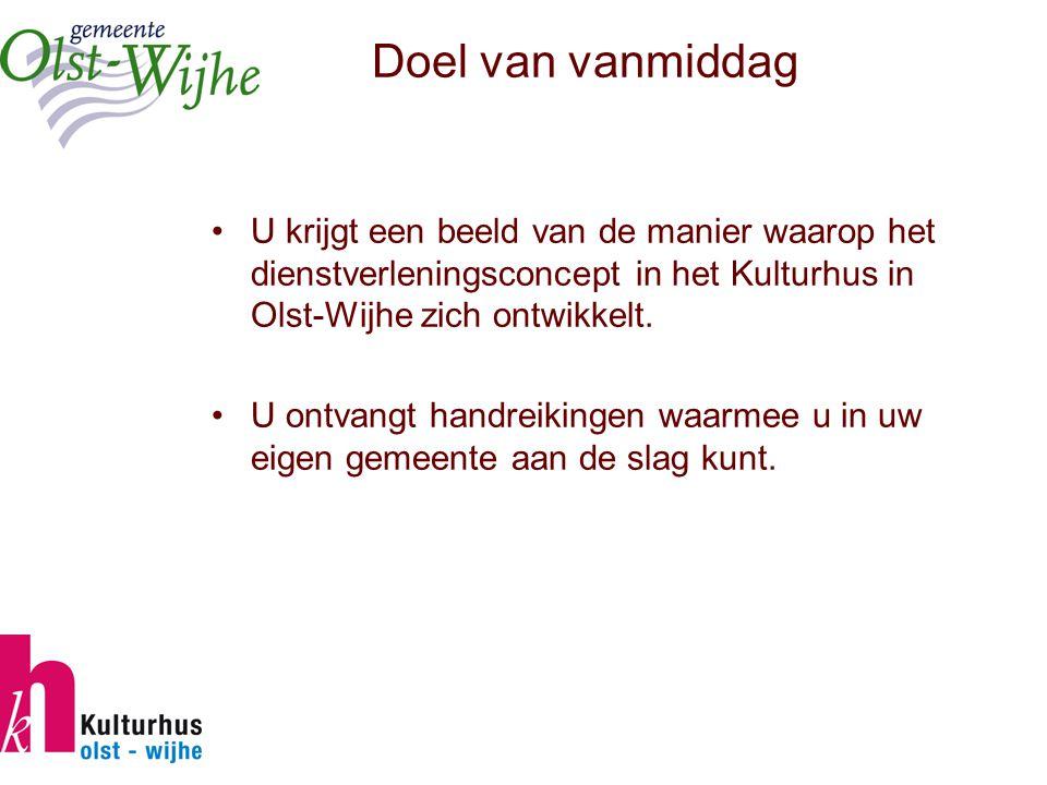Doel van vanmiddag U krijgt een beeld van de manier waarop het dienstverleningsconcept in het Kulturhus in Olst-Wijhe zich ontwikkelt.