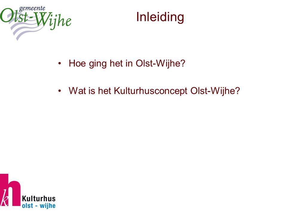 Inleiding Hoe ging het in Olst-Wijhe Wat is het Kulturhusconcept Olst-Wijhe