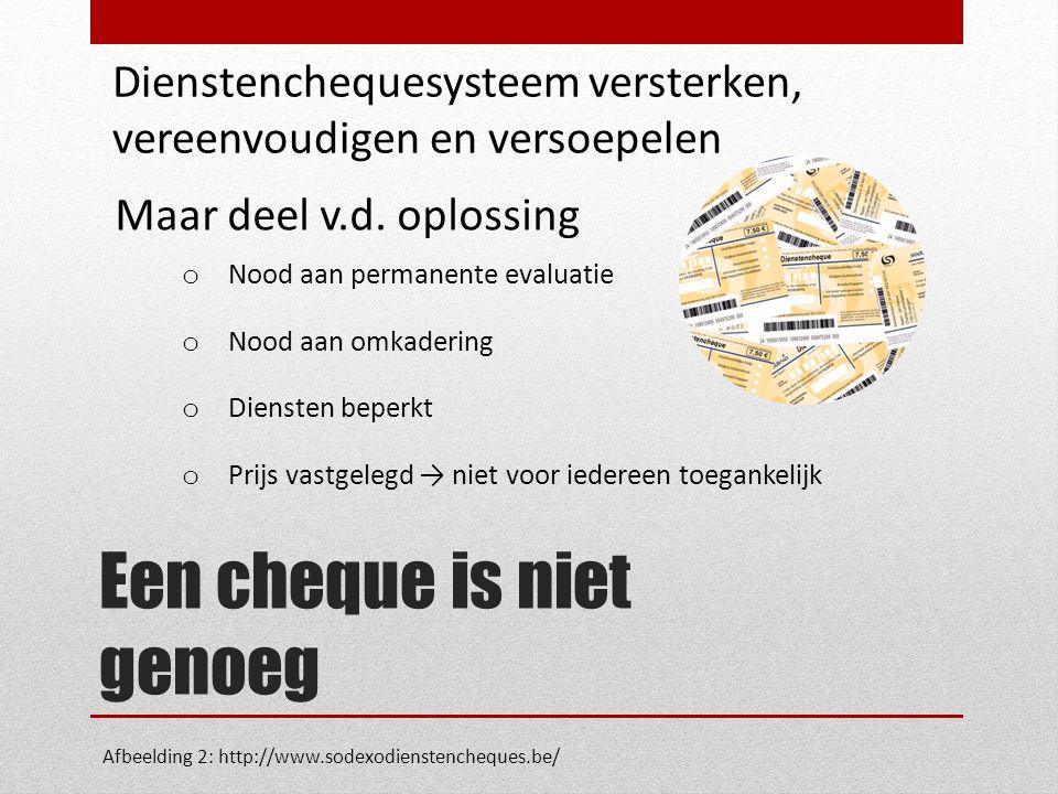 Een cheque is niet genoeg Dienstenchequesysteem versterken, vereenvoudigen en versoepelen Maar deel v.d.