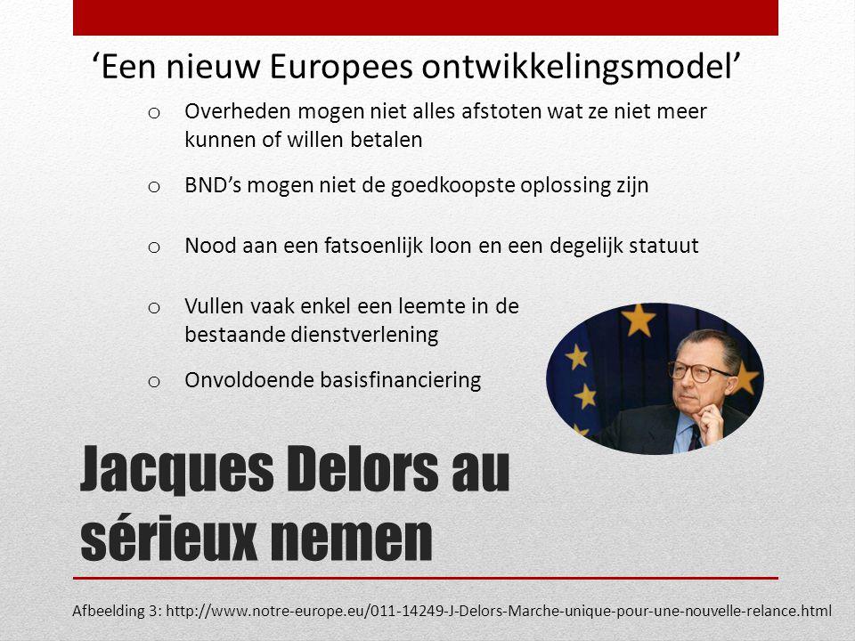 Jacques Delors au sérieux nemen Afbeelding 3: http://www.notre-europe.eu/011-14249-J-Delors-Marche-unique-pour-une-nouvelle-relance.html 'Een nieuw Europees ontwikkelingsmodel' o Overheden mogen niet alles afstoten wat ze niet meer kunnen of willen betalen o BND's mogen niet de goedkoopste oplossing zijn o Nood aan een fatsoenlijk loon en een degelijk statuut o Vullen vaak enkel een leemte in de bestaande dienstverlening o Onvoldoende basisfinanciering