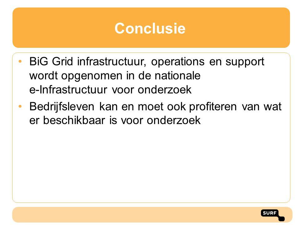 Conclusie BiG Grid infrastructuur, operations en support wordt opgenomen in de nationale e-Infrastructuur voor onderzoek Bedrijfsleven kan en moet ook