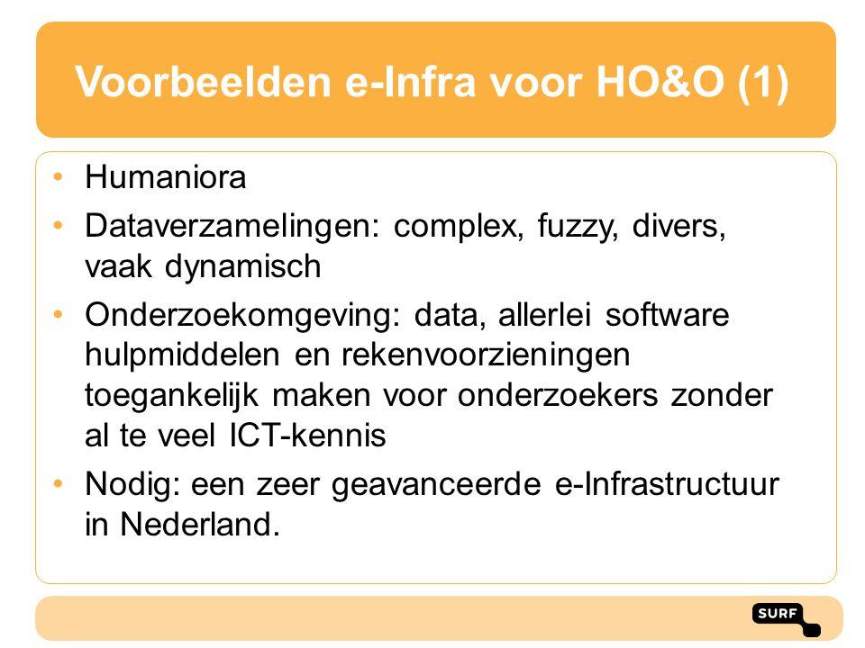 Voorbeelden e-Infra voor HO&O (1) Humaniora Dataverzamelingen: complex, fuzzy, divers, vaak dynamisch Onderzoekomgeving: data, allerlei software hulpm