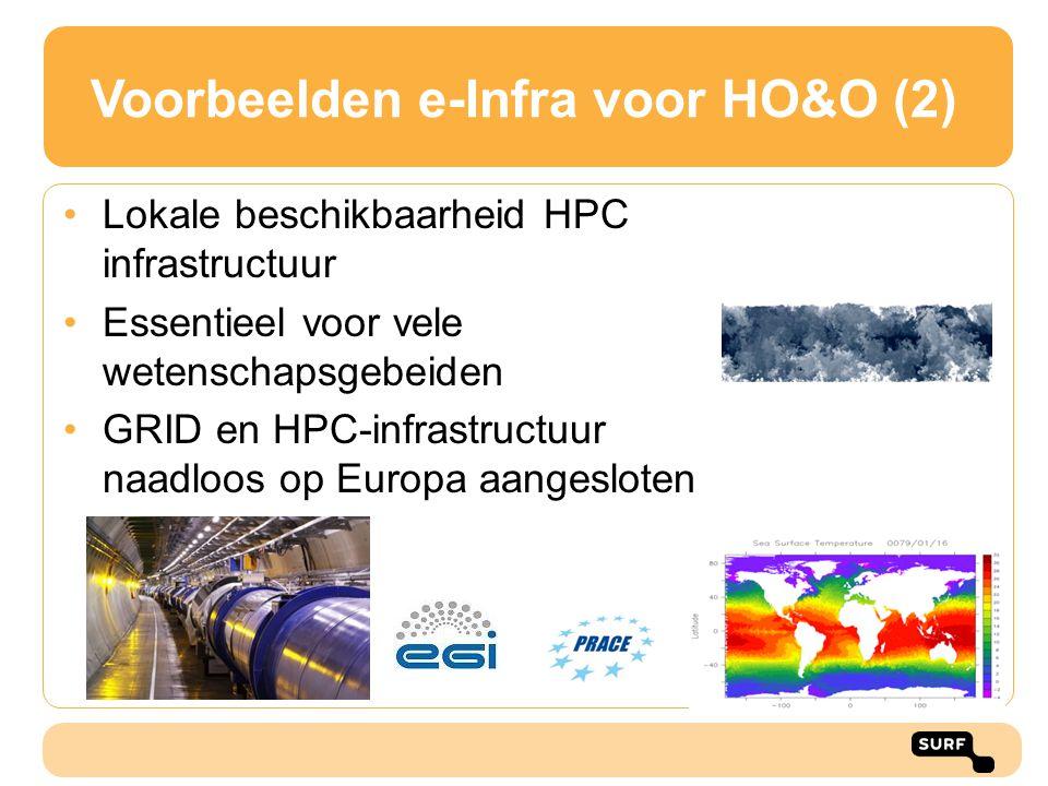 Voorbeelden e-Infra voor HO&O (2) Lokale beschikbaarheid HPC infrastructuur Essentieel voor vele wetenschapsgebeiden GRID en HPC-infrastructuur naadlo
