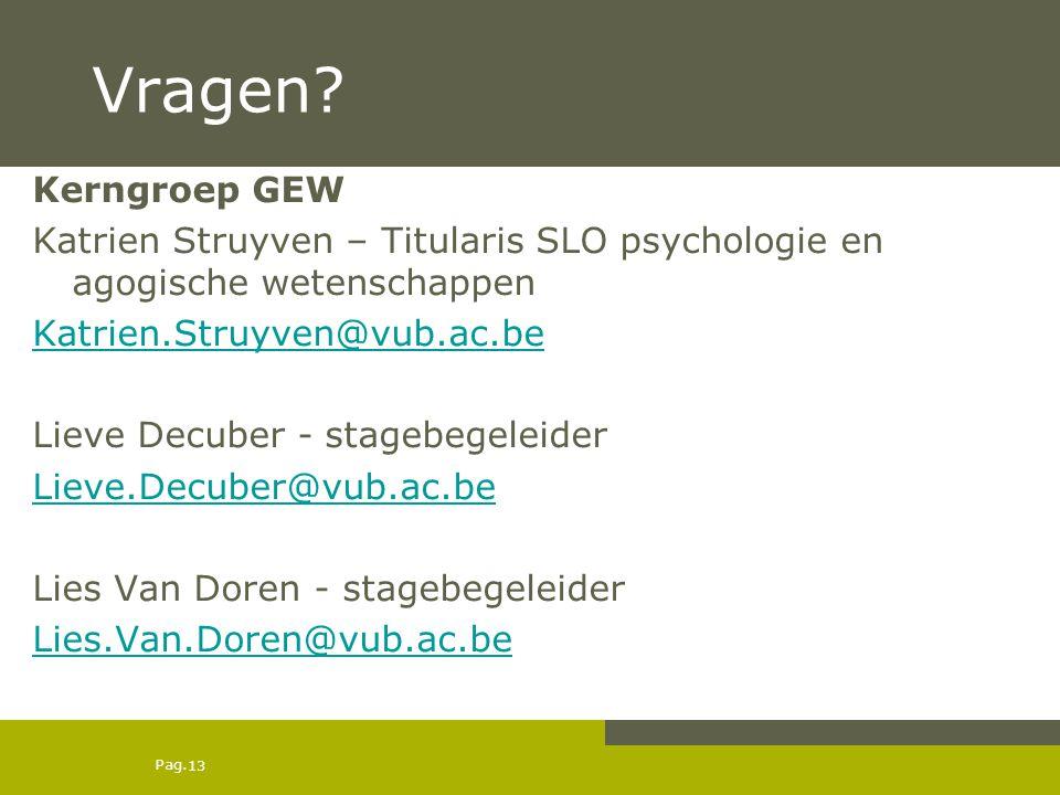 Pag. Vragen? Kerngroep GEW Katrien Struyven – Titularis SLO psychologie en agogische wetenschappen Katrien.Struyven@vub.ac.be Lieve Decuber - stagebeg