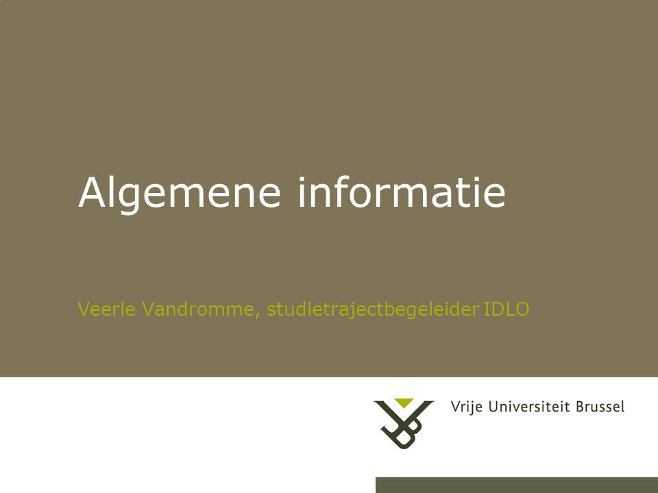 Algemene informatie Veerle Vandromme, studietrajectbegeleider IDLO