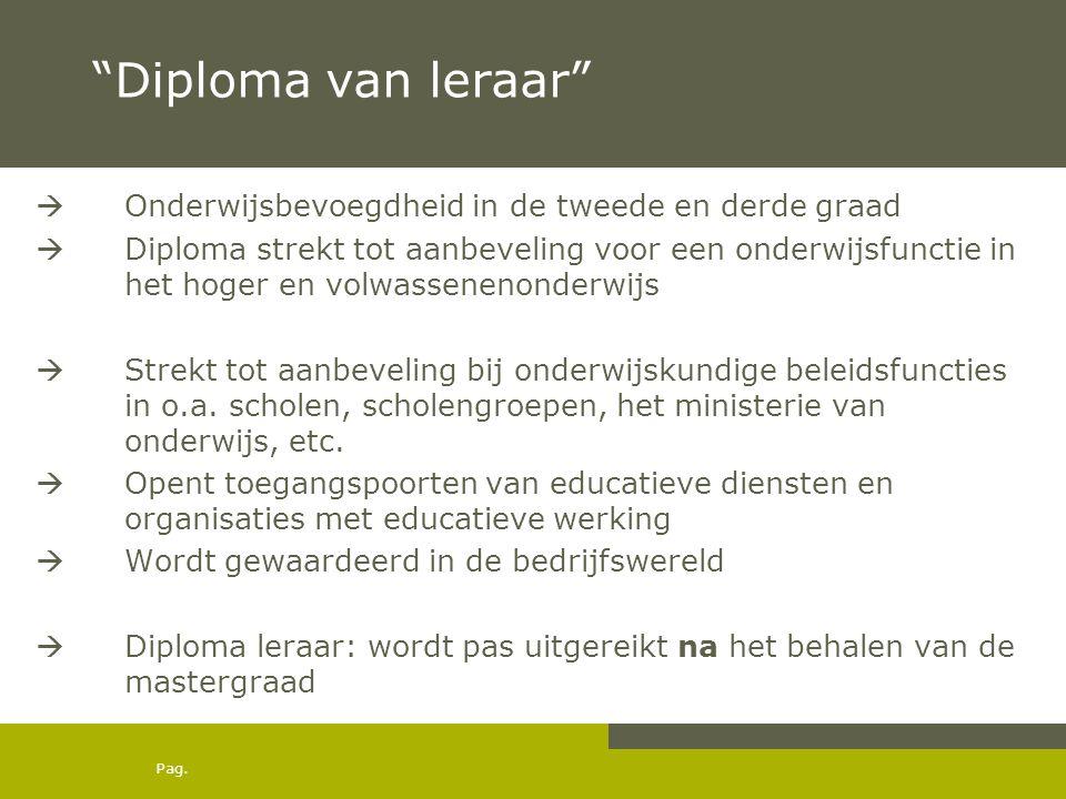 """Pag. """"Diploma van leraar""""  Onderwijsbevoegdheid in de tweede en derde graad  Diploma strekt tot aanbeveling voor een onderwijsfunctie in het hoger e"""