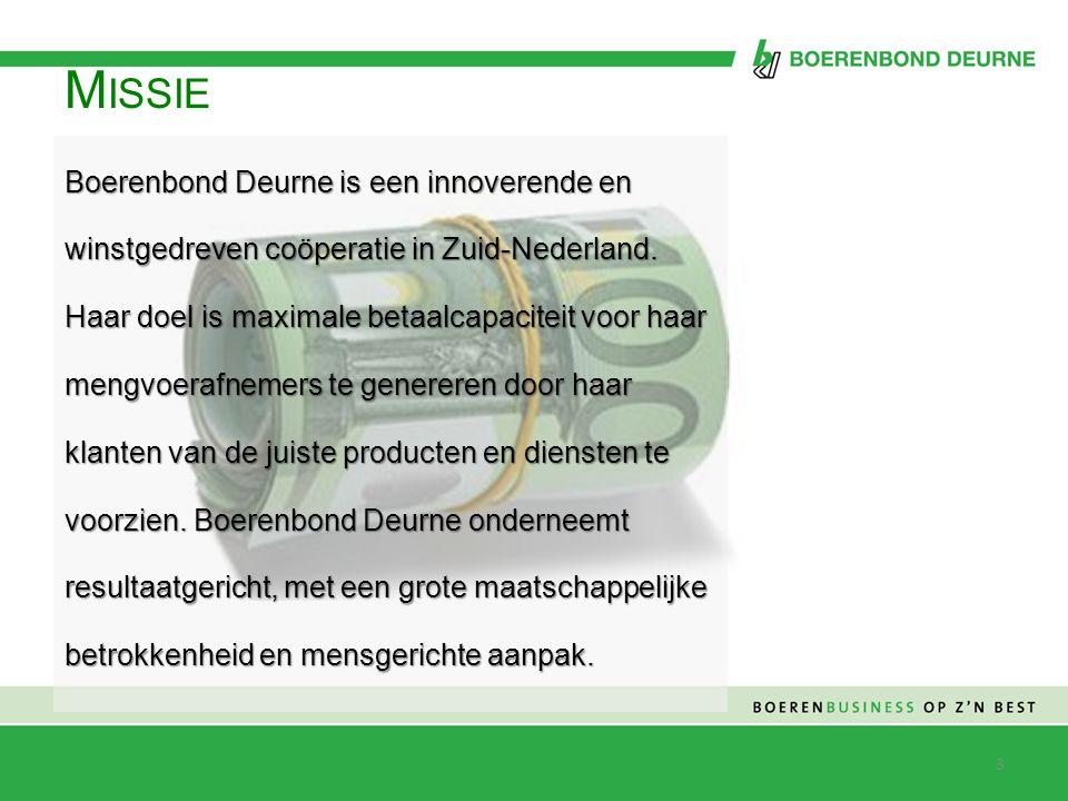 M ISSIE Haar doel is maximale betaalcapaciteit voor haar mengvoerafnemers te genereren Boerenbond Deurne is een innoverende en winstgedreven coöperatie in Zuid-Nederland.