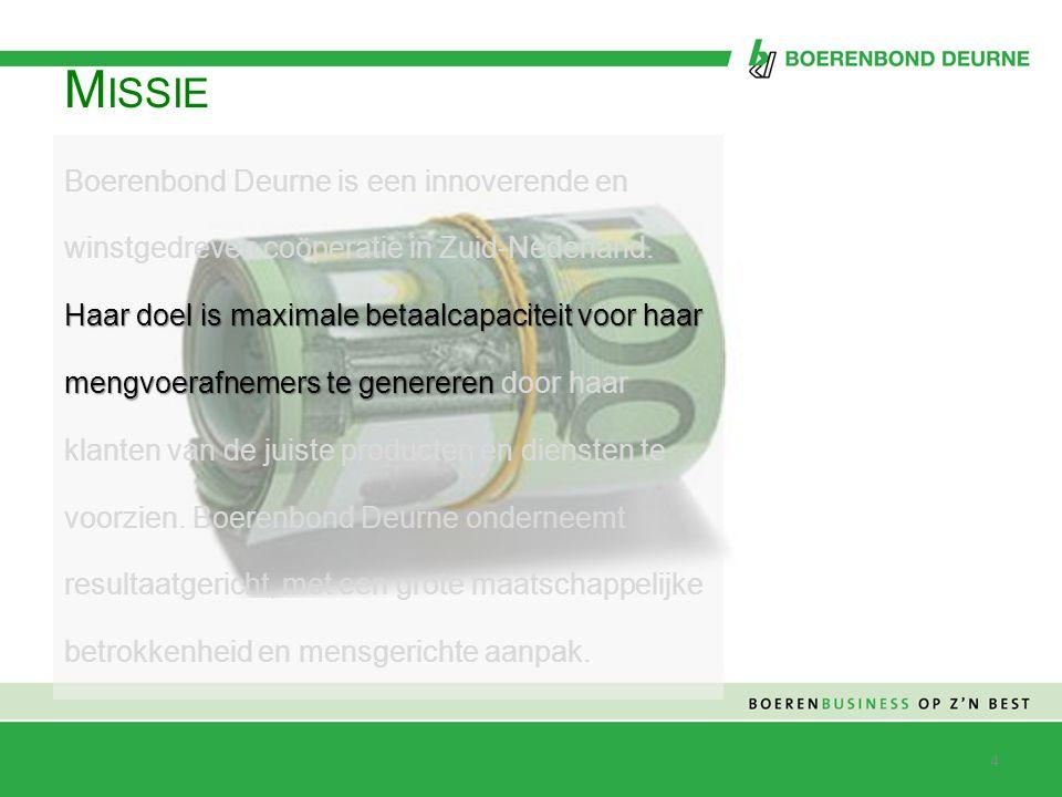 M ISSIE Haar doel is maximale betaalcapaciteit voor haar mengvoerafnemers te genereren Boerenbond Deurne is een innoverende en winstgedreven coöperati