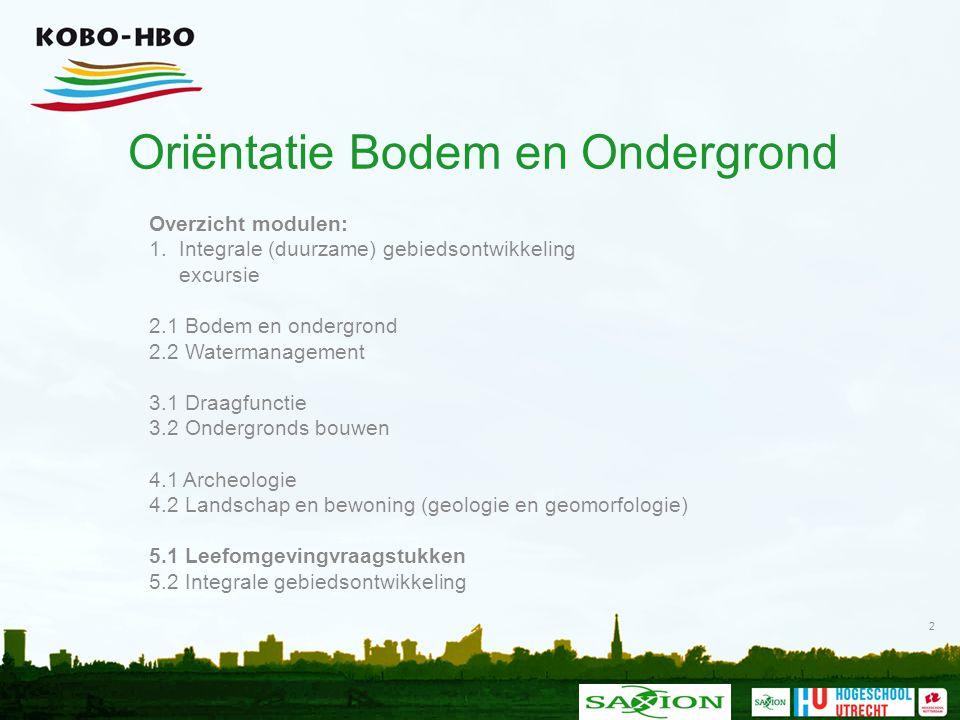 Oriëntatie Bodem en Ondergrond Overzicht modulen: 1. Integrale (duurzame) gebiedsontwikkeling excursie 2.1 Bodem en ondergrond 2.2 Watermanagement 3.1