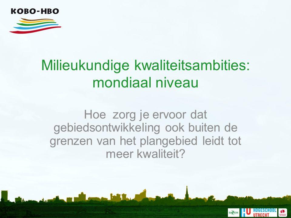 Milieukundige kwaliteitsambities: mondiaal niveau Hoe zorg je ervoor dat gebiedsontwikkeling ook buiten de grenzen van het plangebied leidt tot meer kwaliteit?