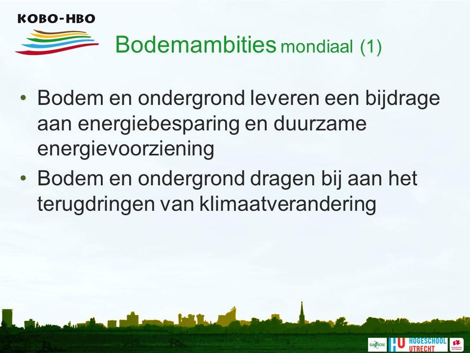 Bodemambities mondiaal (1) Bodem en ondergrond leveren een bijdrage aan energiebesparing en duurzame energievoorziening Bodem en ondergrond dragen bij aan het terugdringen van klimaatverandering