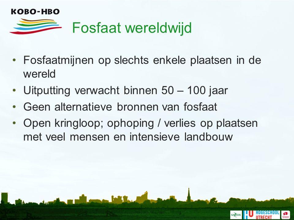Fosfaat wereldwijd Fosfaatmijnen op slechts enkele plaatsen in de wereld Uitputting verwacht binnen 50 – 100 jaar Geen alternatieve bronnen van fosfaat Open kringloop; ophoping / verlies op plaatsen met veel mensen en intensieve landbouw