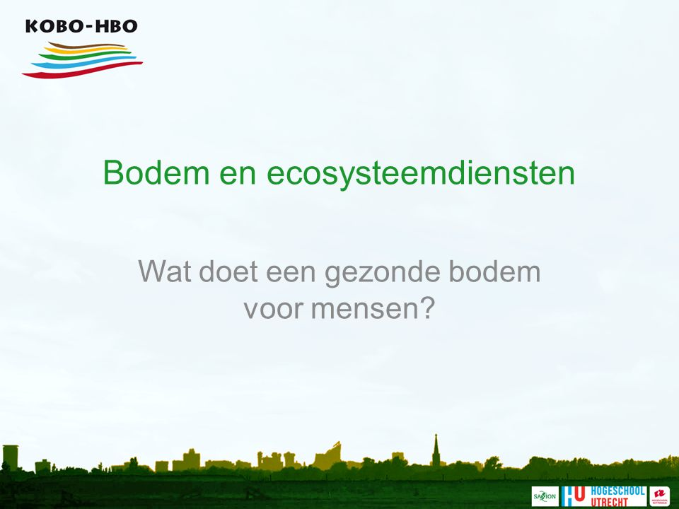 Bodem en ecosysteemdiensten Wat doet een gezonde bodem voor mensen?