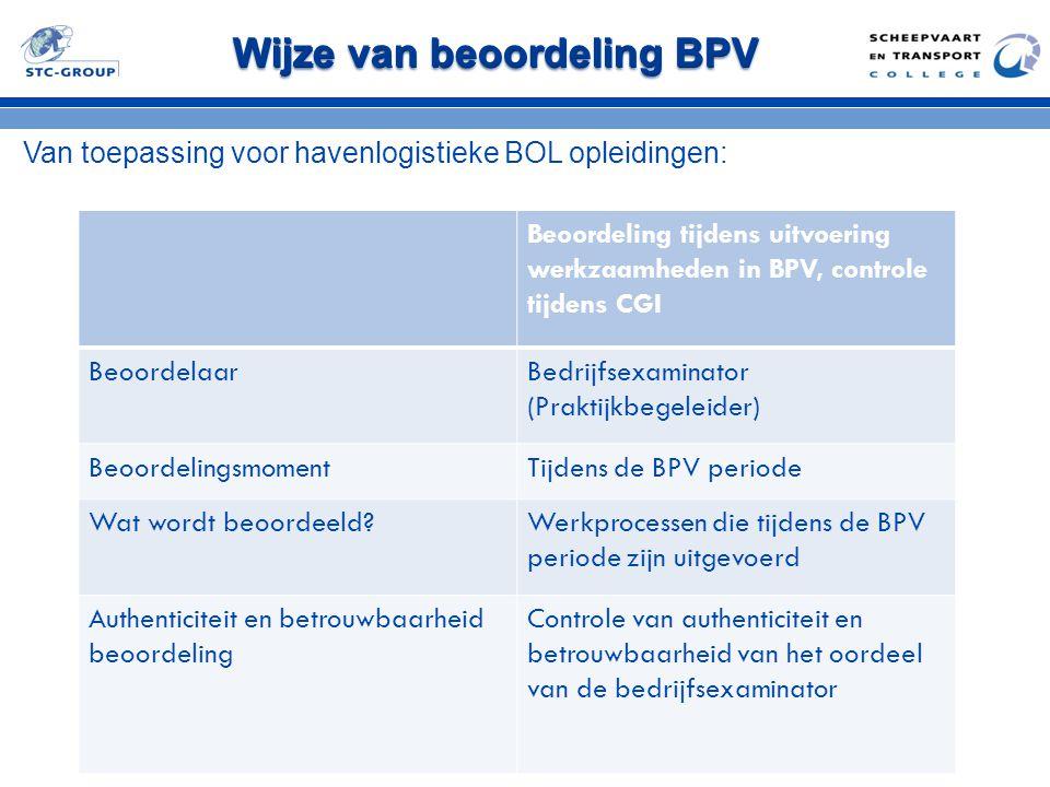 Wijze van beoordeling BPV Van toepassing voor havenlogistieke BOL opleidingen: Beoordeling tijdens uitvoering werkzaamheden in BPV, controle tijdens C