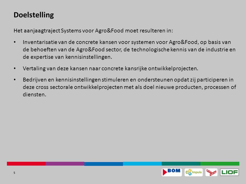 5 Doelstelling Het aanjaagtraject Systems voor Agro&Food moet resulteren in: Inventarisatie van de concrete kansen voor systemen voor Agro&Food, op basis van de behoeften van de Agro&Food sector, de technologische kennis van de industrie en de expertise van kennisinstellingen.