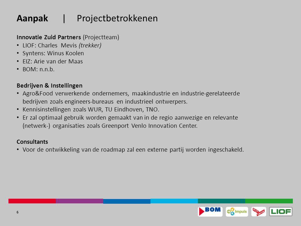 6 Aanpak|Projectbetrokkenen Innovatie Zuid Partners (Projectteam) LIOF: Charles Mevis (trekker) Syntens: Winus Koolen EIZ: Arie van der Maas BOM: n.n.b.