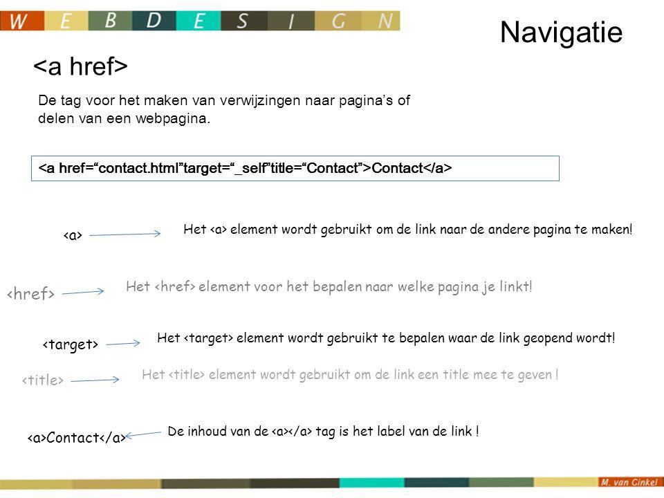De tag voor het maken van verwijzingen naar pagina's of delen van een webpagina.