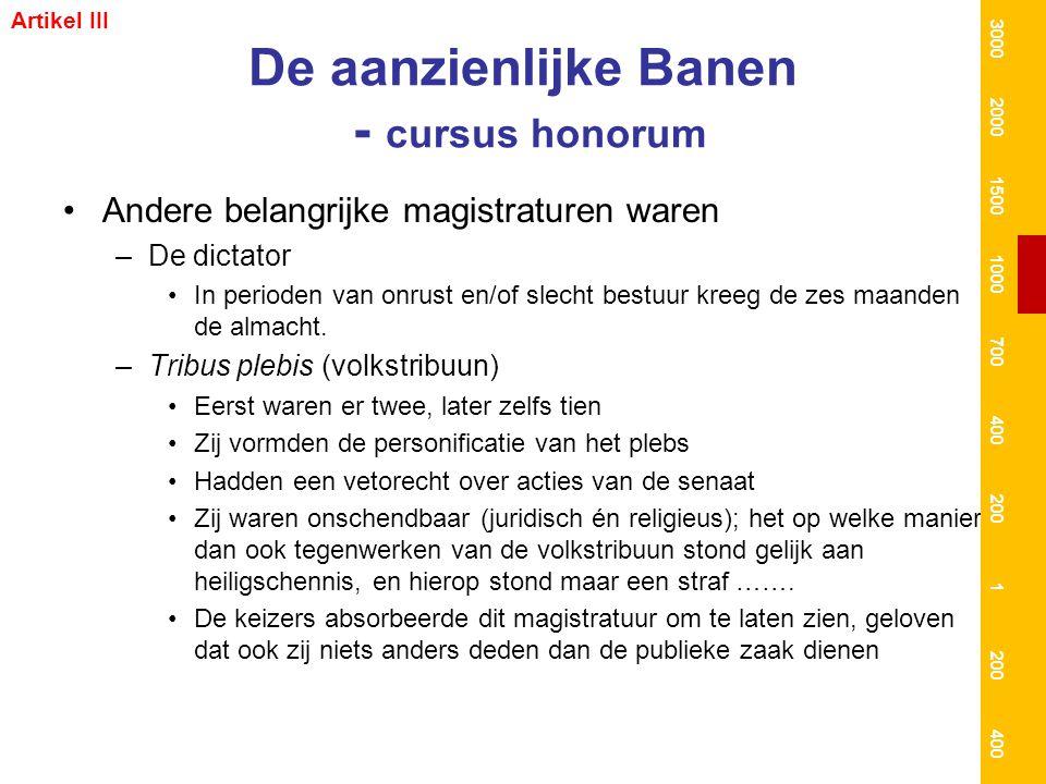 De aanzienlijke Banen - cursus honorum Andere belangrijke magistraturen waren –De dictator In perioden van onrust en/of slecht bestuur kreeg de zes ma